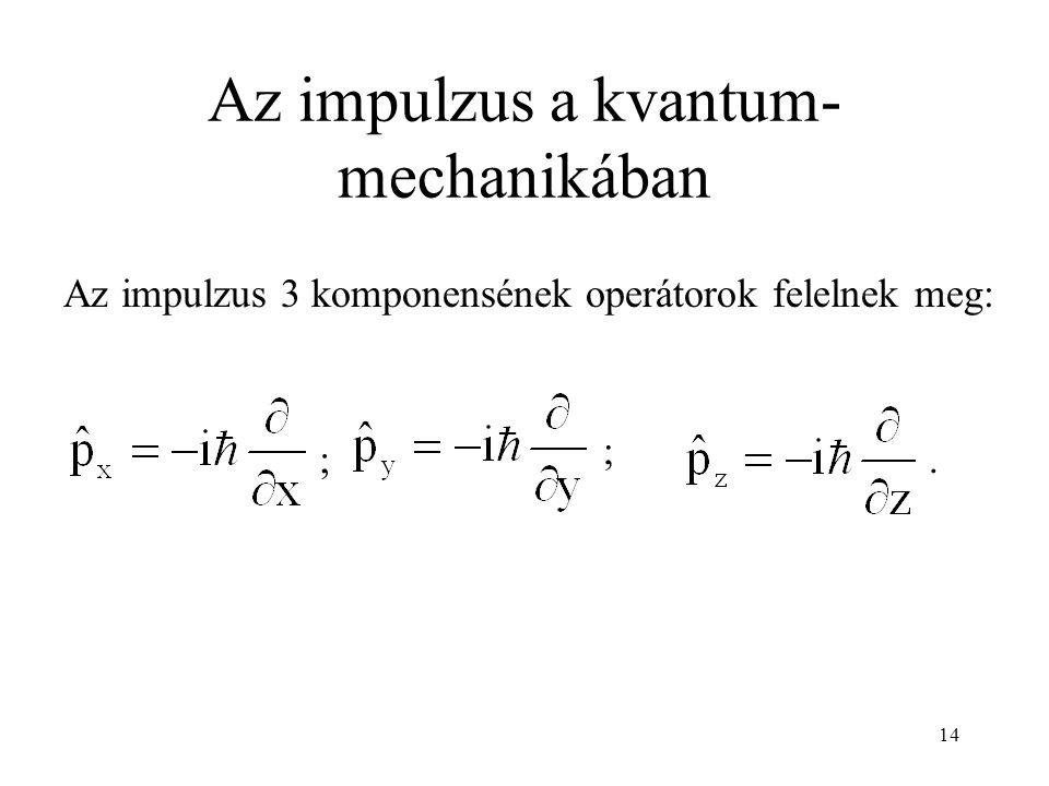 Az impulzus a kvantum- mechanikában ; ;. Az impulzus 3 komponensének operátorok felelnek meg: 14