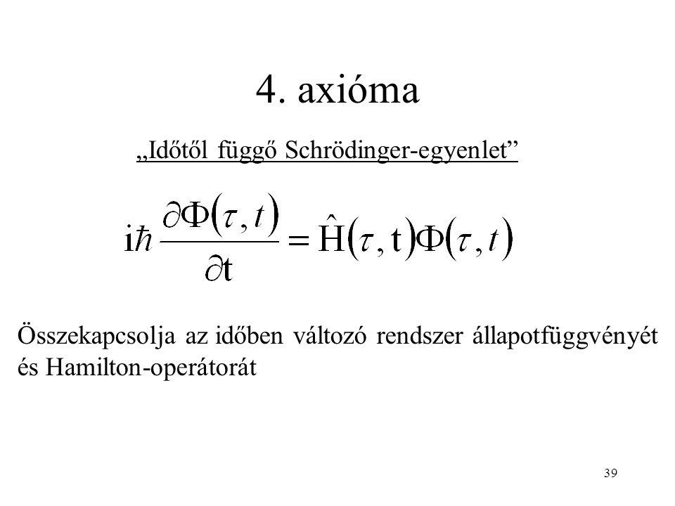 """4. axióma Összekapcsolja az időben változó rendszer állapotfüggvényét és Hamilton-operátorát """"Időtől függő Schrödinger-egyenlet"""" 39"""