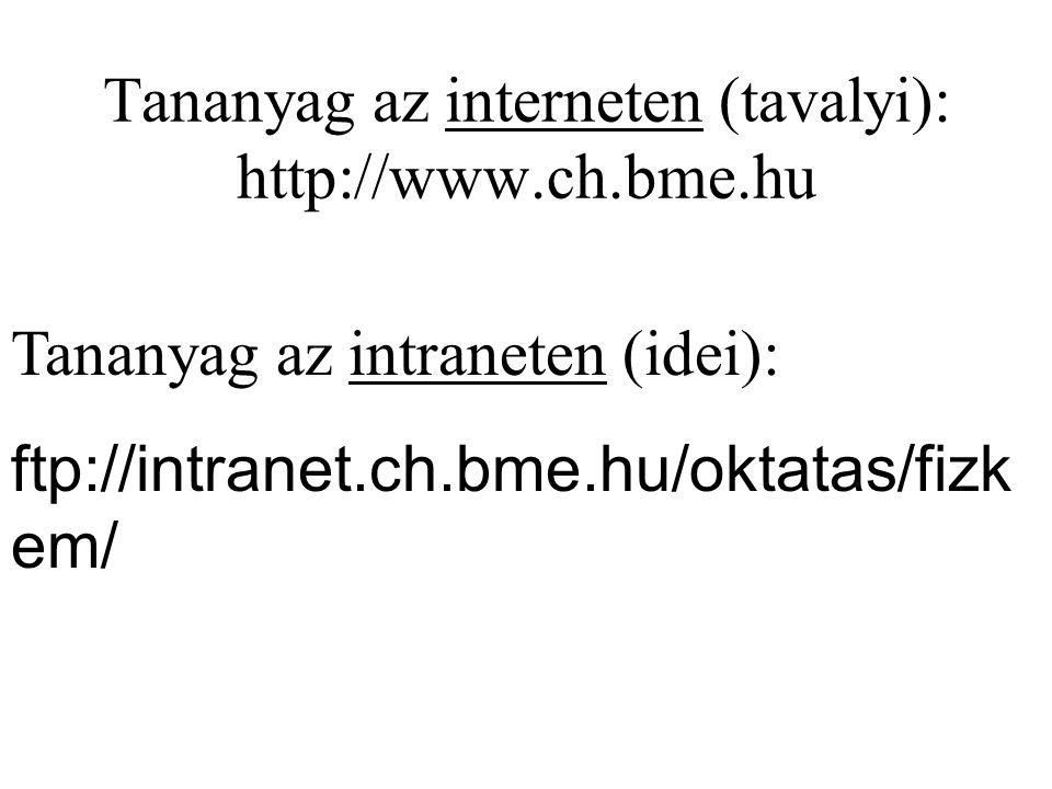 Tananyag az interneten (tavalyi): http://www.ch.bme.hu Tananyag az intraneten (idei): ftp://intranet.ch.bme.hu/oktatas/fizk em/