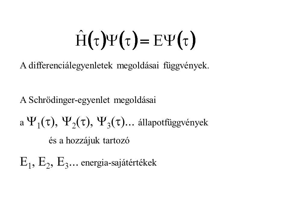 A differenciálegyenletek megoldásai függvények. A Schrödinger-egyenlet megoldásai a  1 (  ),  2 (  ),  3 (  )... állapotfüggvények és a hozzájuk