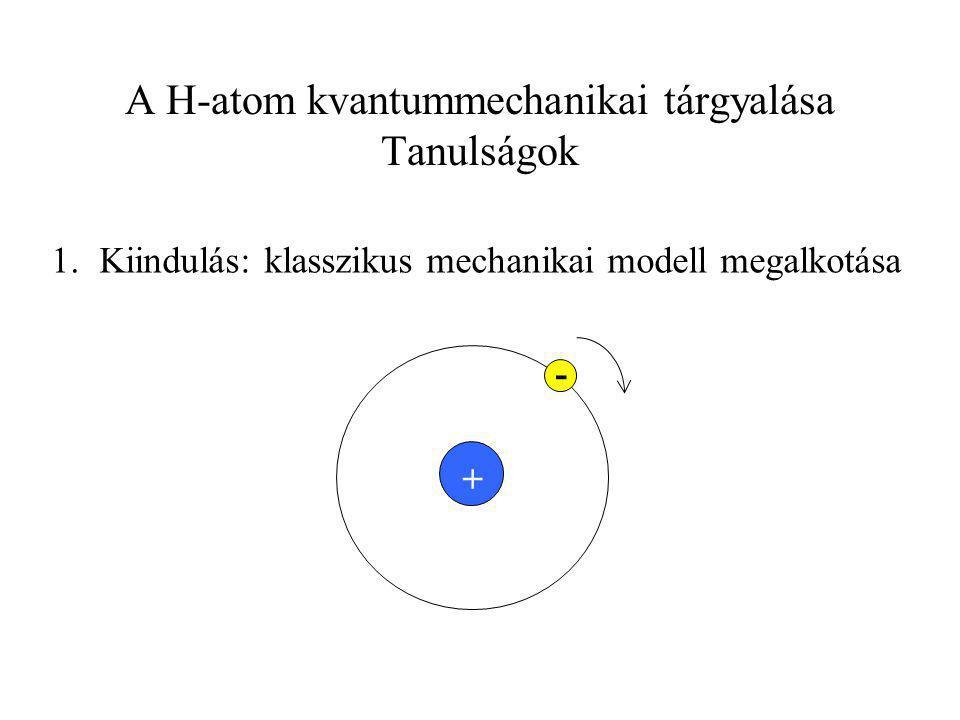 A H-atom kvantummechanikai tárgyalása Tanulságok 2.
