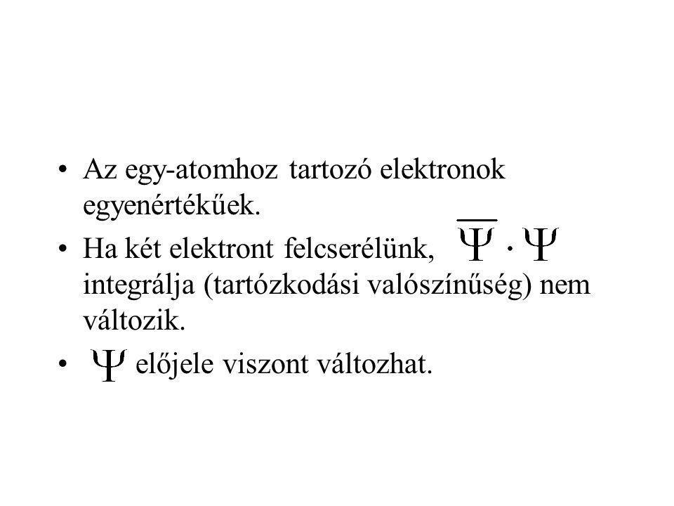 Az egy-atomhoz tartozó elektronok egyenértékűek. Ha két elektront felcserélünk, integrálja (tartózkodási valószínűség) nem változik. előjele viszont v