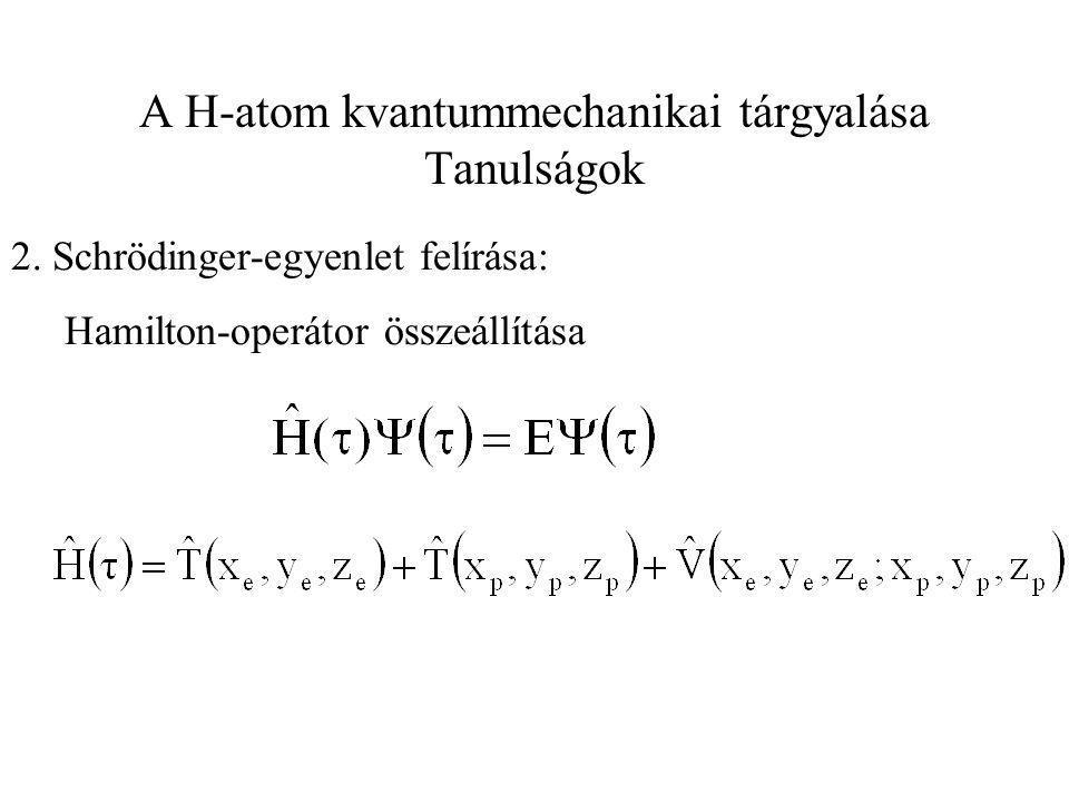 A H-atom kvantummechanikai tárgyalása Tanulságok 2. Schrödinger-egyenlet felírása: Hamilton-operátor összeállítása