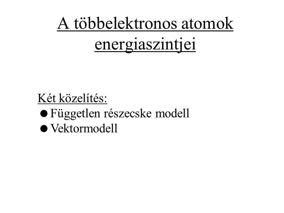 A többelektronos atomok energiaszintjei Két közelítés:  Független részecske modell  Vektormodell