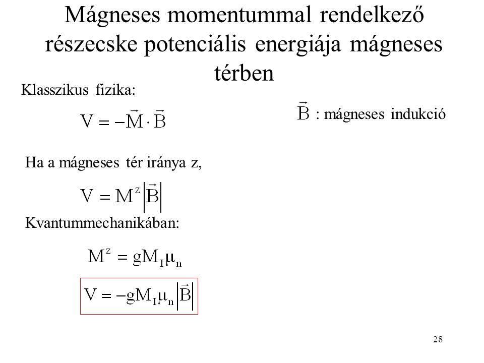 28 Mágneses momentummal rendelkező részecske potenciális energiája mágneses térben Klasszikus fizika: Ha a mágneses tér iránya z, Kvantummechanikában: : mágneses indukció