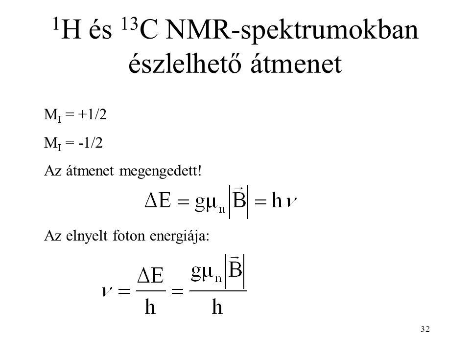 32 1 H és 13 C NMR-spektrumokban észlelhető átmenet M I = +1/2 M I = -1/2 Az átmenet megengedett! Az elnyelt foton energiája: