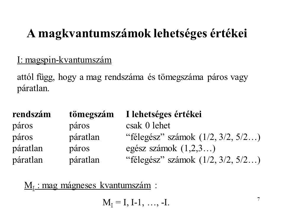 7 I: magspin-kvantumszám attól függ, hogy a mag rendszáma és tömegszáma páros vagy páratlan. M I : mag mágneses kvantumszám : M I = I, I-1, …, -I. ren