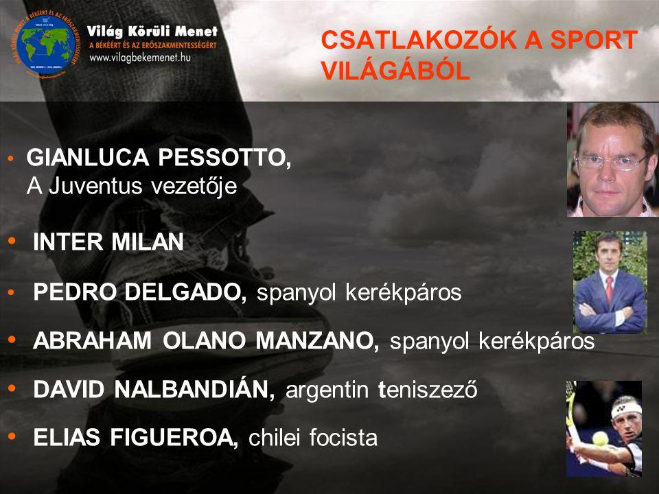 CSATLAKOZÓK A SPORT VILÁGÁBÓL GIANLUCA PESSOTTO, A Juventus vezetője INTER MILAN PEDRO DELGADO, spanyol kerékpáros ABRAHAM OLANO MANZANO, spanyol kerékpáros DAVID NALBANDIÁN, argentin teniszező ELIAS FIGUEROA, chilei focista