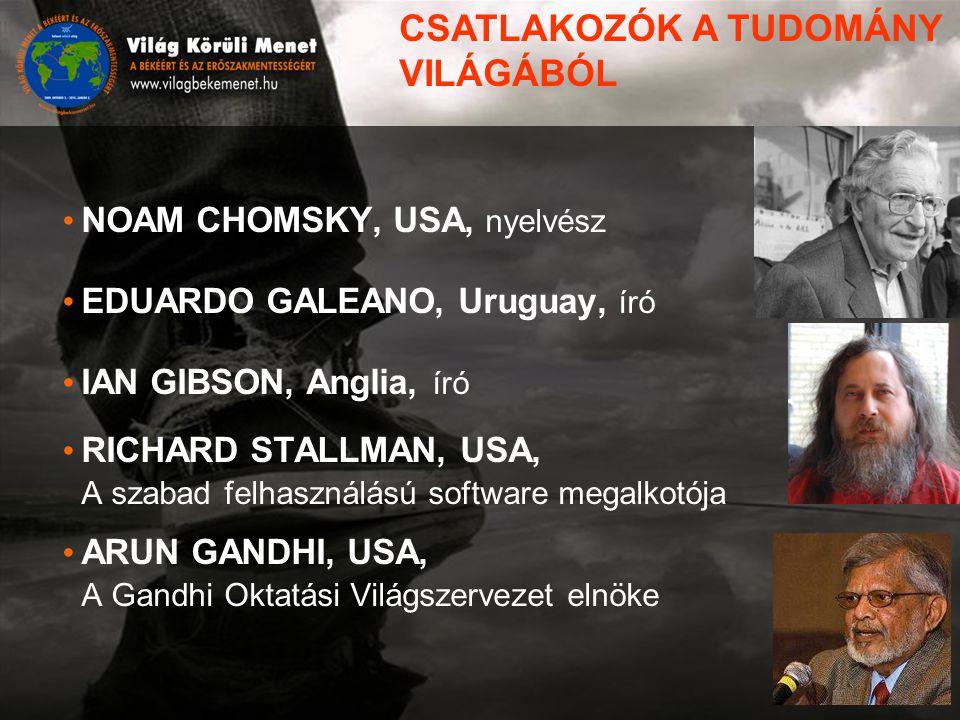 NOAM CHOMSKY, USA, nyelvész EDUARDO GALEANO, Uruguay, író IAN GIBSON, Anglia, író RICHARD STALLMAN, USA, A szabad felhasználású software megalkotója ARUN GANDHI, USA, A Gandhi Oktatási Világszervezet elnöke CSATLAKOZÓK A TUDOMÁNY VILÁGÁBÓL