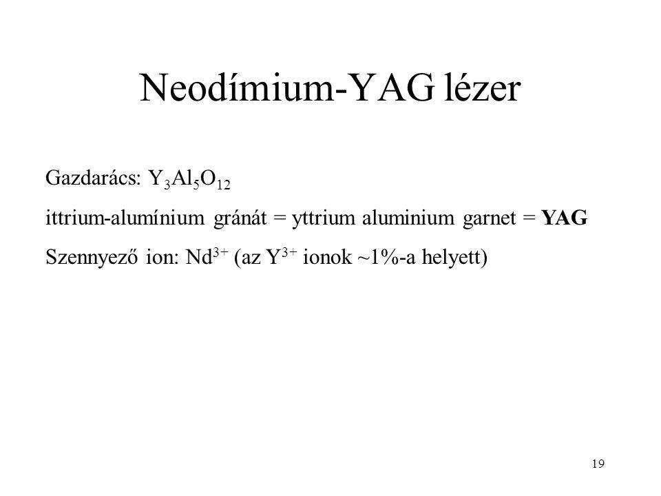 19 Neodímium-YAG lézer Gazdarács: Y 3 Al 5 O 12 ittrium-alumínium gránát = yttrium aluminium garnet = YAG Szennyező ion: Nd 3+ (az Y 3+ ionok ~1%-a he