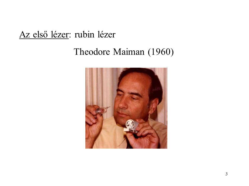 3 Az első lézer: rubin lézer Theodore Maiman (1960)