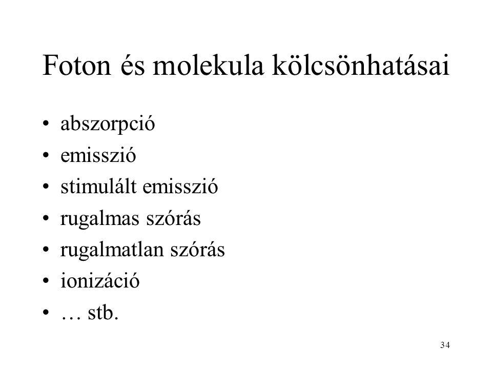 34 Foton és molekula kölcsönhatásai abszorpció emisszió stimulált emisszió rugalmas szórás rugalmatlan szórás ionizáció … stb.