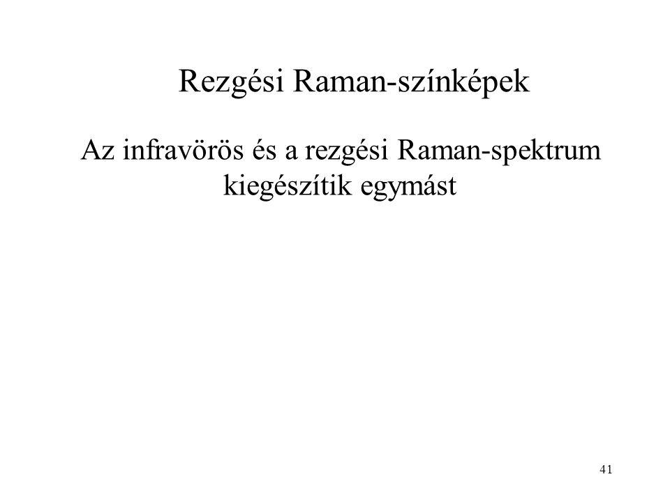 41 Az infravörös és a rezgési Raman-spektrum kiegészítik egymást Rezgési Raman-színképek