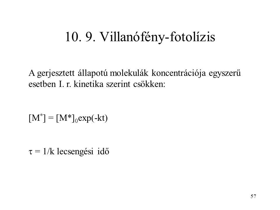 57 10. 9. Villanófény-fotolízis A gerjesztett állapotú molekulák koncentrációja egyszerű esetben I. r. kinetika szerint csökken: [M * ] = [M*] 0 exp(-