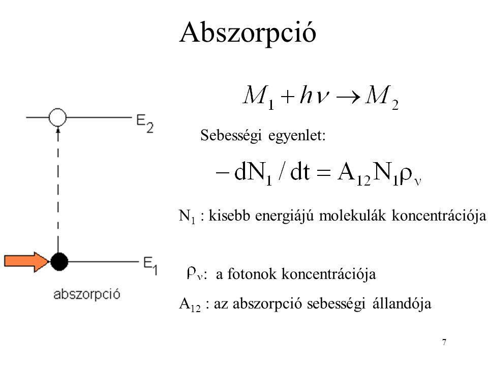 7 Abszorpció Sebességi egyenlet: N 1 : kisebb energiájú molekulák koncentrációja : a fotonok koncentrációja A 12 : az abszorpció sebességi állandója