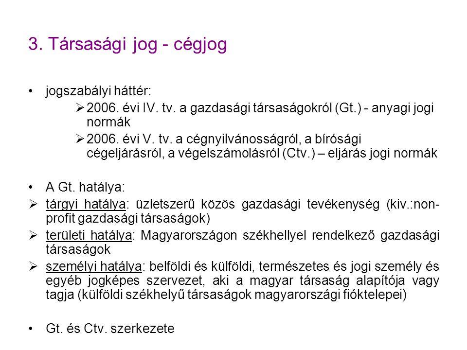 3.Társasági jog - cégjog jogszabályi háttér:  2006.