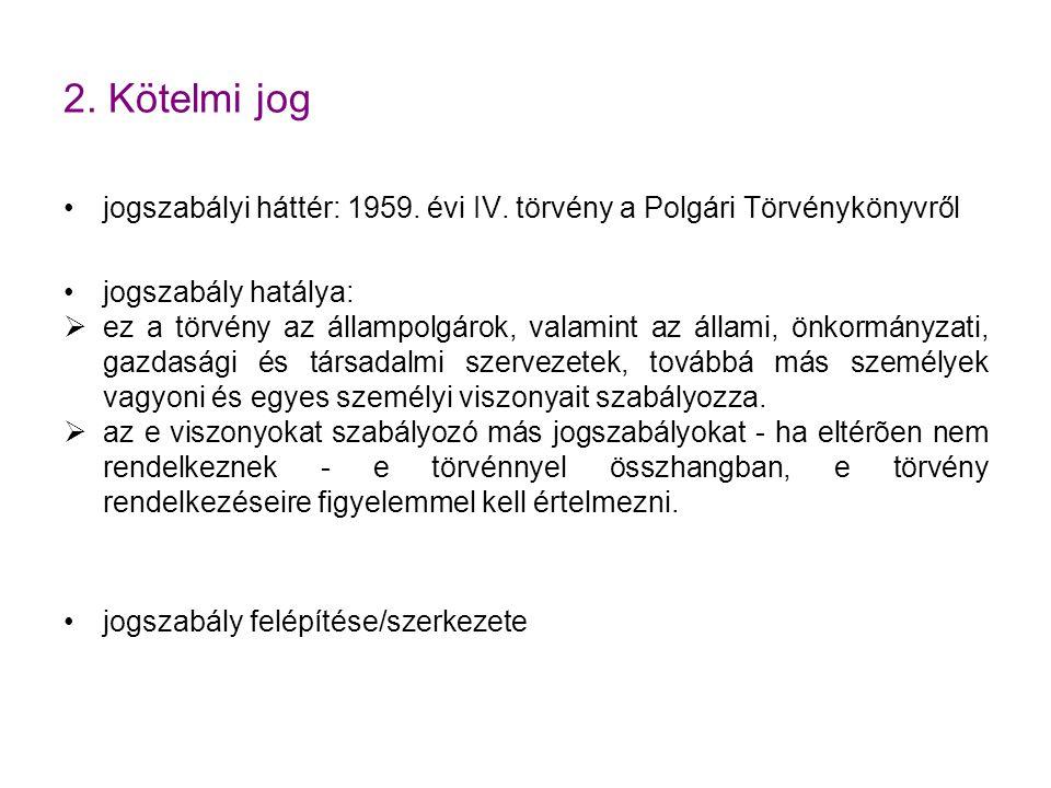 2.Kötelmi jog jogszabályi háttér: 1959. évi IV.