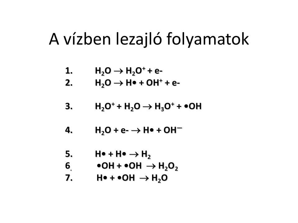 A vízben lezajló folyamatok 1.H 2 O  H 2 O + + e- 2.H 2 O  H + OH + + e- 3.H 2 O + + H 2 O  H 3 O + + OH 4.H 2 O + e-  H + OH — 5.H + H  H 2 6.