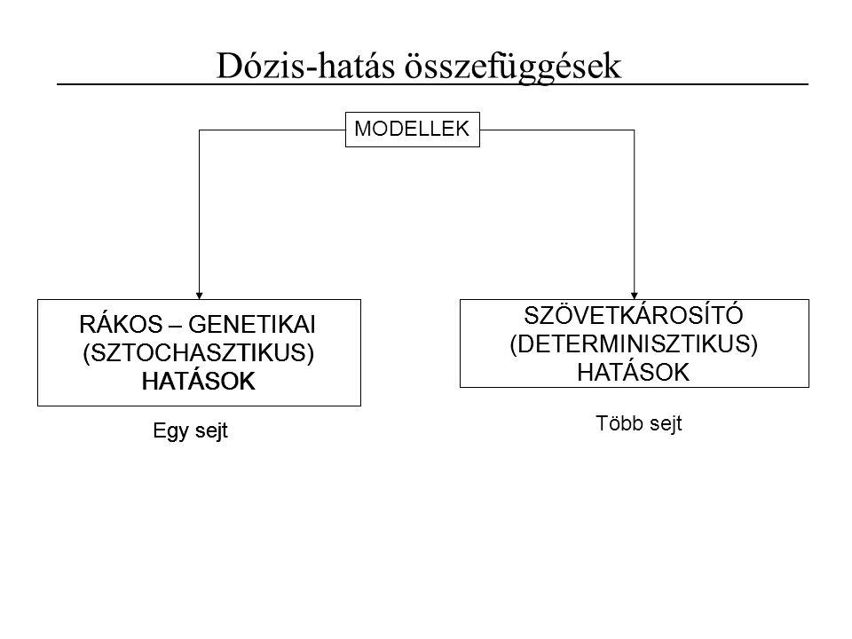 RÁKOS – GENETIKAI (SZTOCHASZTIKUS) HATÁSOK Dózis-hatás összefüggések SZÖVETKÁROSÍTÓ (DETERMINISZTIKUS) HATÁSOK Egy sejt Több sejt MODELLEK RÁKOS – GENETIKAI (SZTOCHASZTIKUS) HATÁSOK Egy sejt SZÖVETKÁROSÍTÓ (DETERMINISZTIKUS) HATÁSOK RÁKOS – GENETIKAI (SZTOCHASZTIKUS) HATÁSOK Egy sejt