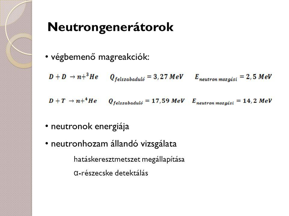 Neutrongenerátorok végbemenő magreakciók: neutronok energiája neutronhozam állandó vizsgálata hatáskeresztmetszet megállapítása α -részecske detektálá