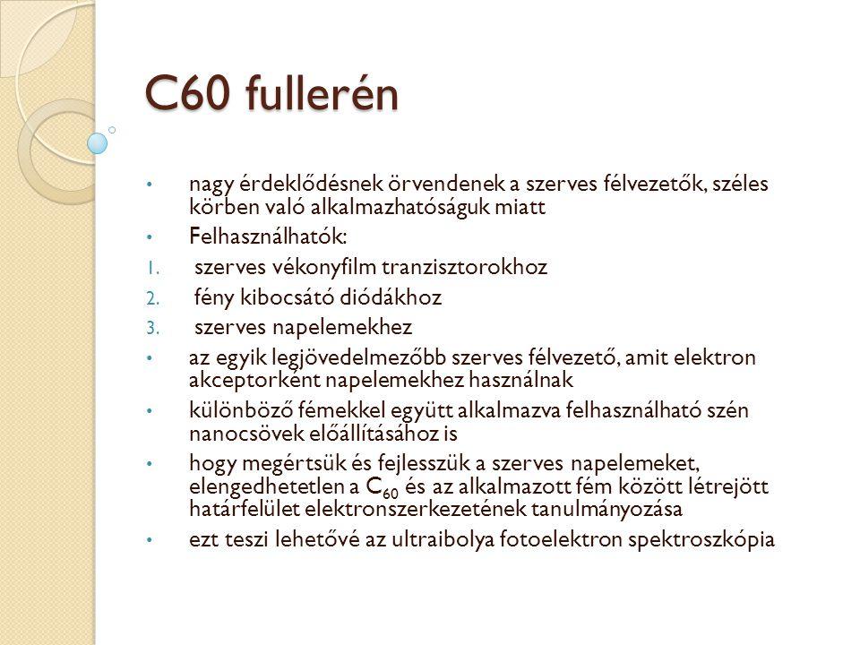 C60 fullerén nagy érdeklődésnek örvendenek a szerves félvezetők, széles körben való alkalmazhatóságuk miatt Felhasználhatók: 1.