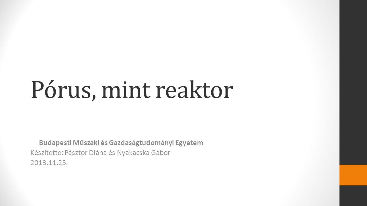Pórus, mint reaktor Budapesti Műszaki és Gazdaságtudományi Egyetem Készítette: Pásztor Diána és Nyakacska Gábor 2013.11.25.