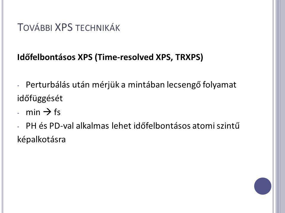 T OVÁBBI XPS TECHNIKÁK Időfelbontásos XPS (Time-resolved XPS, TRXPS) - Perturbálás után mérjük a mintában lecsengő folyamat időfüggését - min  fs - PH és PD-val alkalmas lehet időfelbontásos atomi szintű képalkotásra