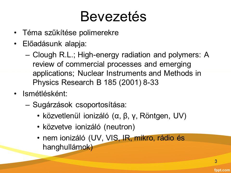 Bevezetés Téma szűkítése polimerekre Előadásunk alapja: –Clough R.L.; High-energy radiation and polymers: A review of commercial processes and emergin