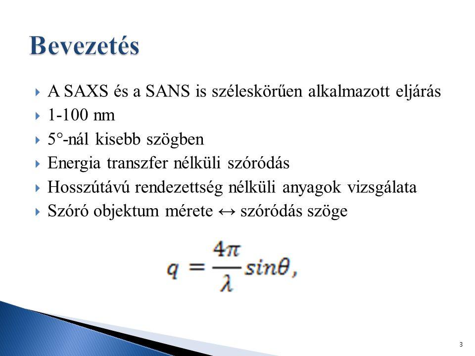  A SAXS és a SANS is széleskörűen alkalmazott eljárás  1-100 nm  5°-nál kisebb szögben  Energia transzfer nélküli szóródás  Hosszútávú rendezettség nélküli anyagok vizsgálata  Szóró objektum mérete ↔ szóródás szöge 3