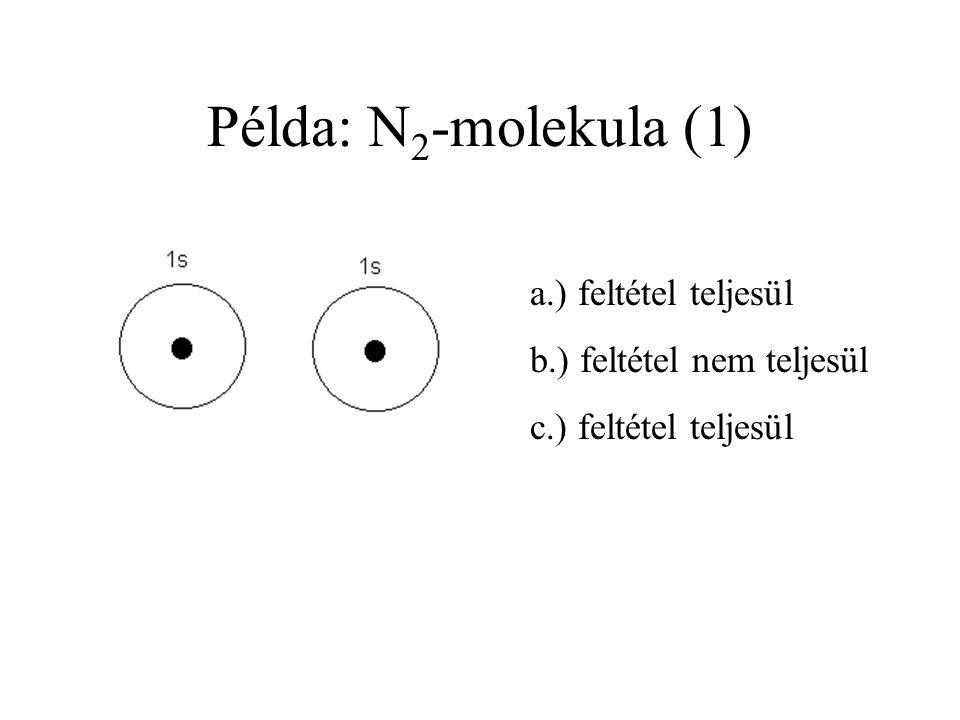Példa: N 2 -molekula Legegyszerűbb kombinációk:  Mindkét atomból 1-1 atompálya  c 1 = c 2 = +1, ill. c 1 = +1, c 2 = -1
