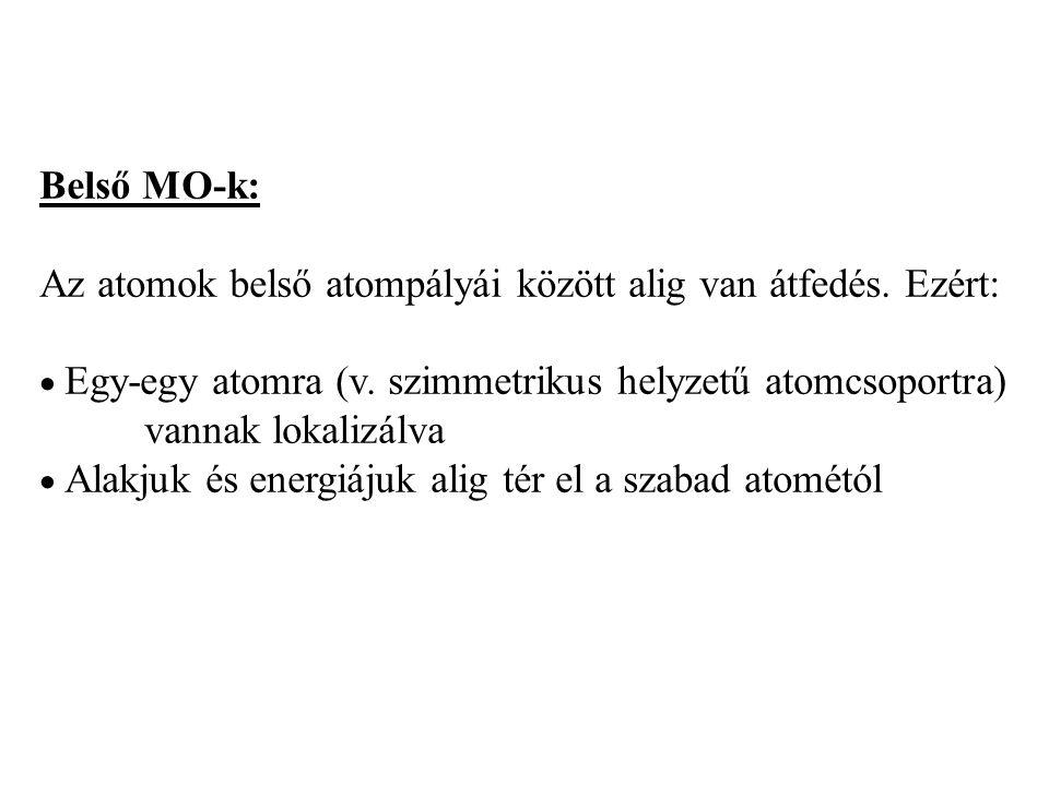 Többatomos molekula MO-i: elvileg az összes atom AO-inak lineáris kombinációjaként állítható elő. Belső MO-k: Külső MO-k