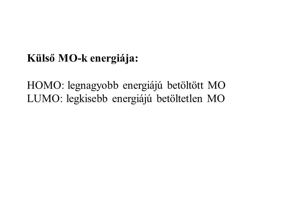 Külső MO-k: Az AO-k keverednek Jellemzőik: Energia Alak – lokalizált, ill. delokalizált jelleg – pontcsoport-szimmetria