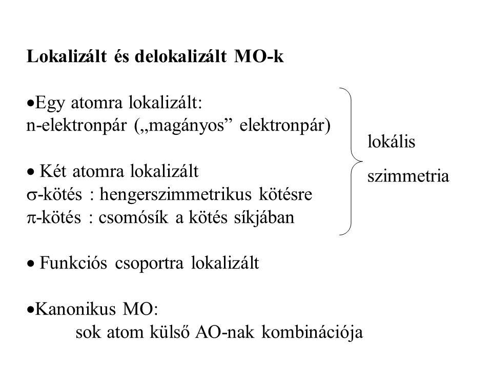Külső MO-k energiája: HOMO: legnagyobb energiájú betöltött MO LUMO: legkisebb energiájú betöltetlen MO
