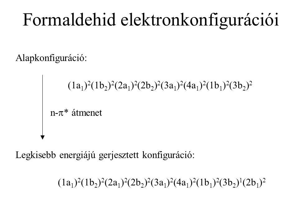Belső héjak Vegyértékhéj betöltött pályák Vegyértékhéj üres pályák A formaldehid MOED-je