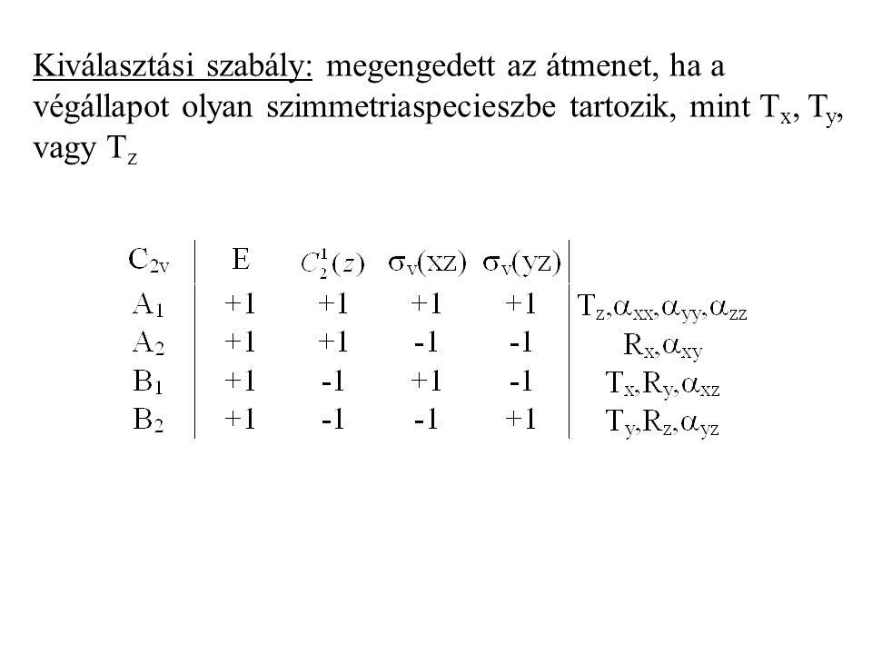 Az állapot szimmetriájának meghatározása Alapkonfiguráció: A 1 állapot Legkisebb energiájú gerjesztett konfiguráció A 2 állapot Direkt-szorzat: karakt