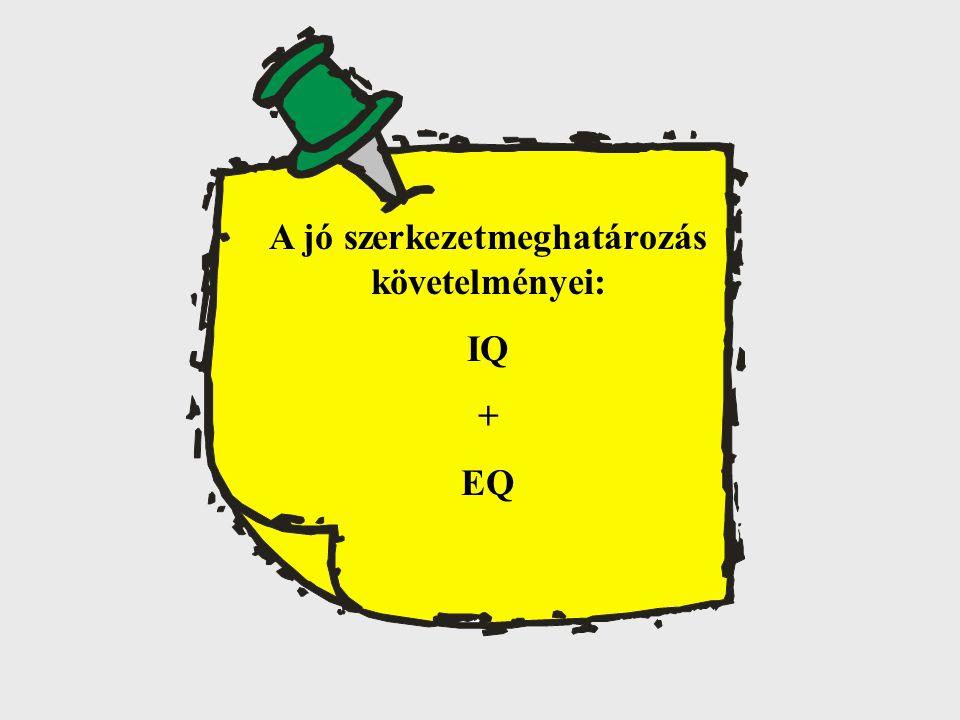 A jó szerkezetmeghatározás követelményei: IQ + EQ