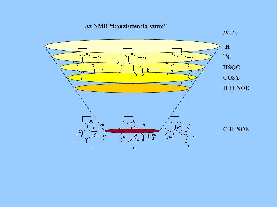 """Pl.(!): 1 H 13 C HSQC COSY H-H-NOE C-H-NOE Az NMR """"konzisztencia szűrő"""""""