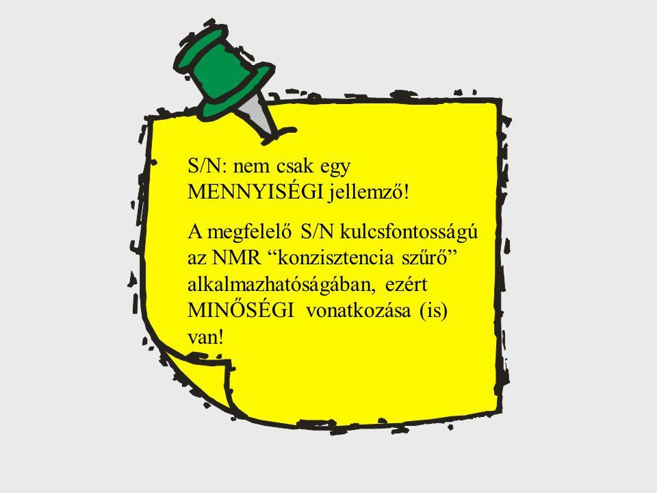 """S/N: nem csak egy MENNYISÉGI jellemző! A megfelelő S/N kulcsfontosságú az NMR """"konzisztencia szűrő"""" alkalmazhatóságában, ezért MINŐSÉGI vonatkozása (i"""