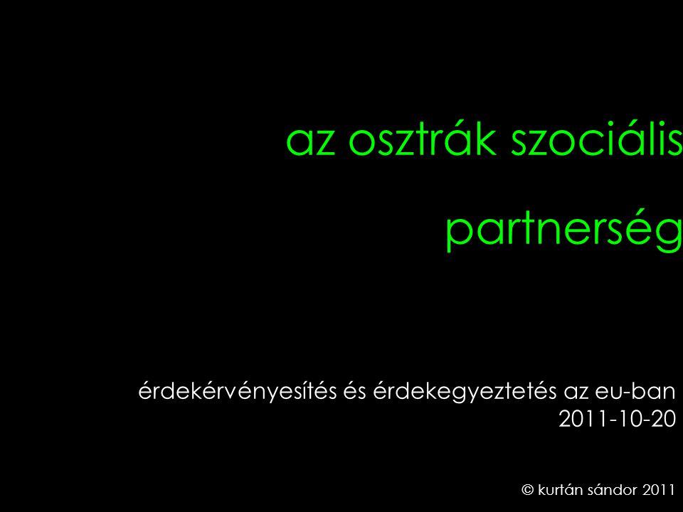 1 az osztrák szociális partnerség © kurtán sándor 2011 érdekérvényesítés és érdekegyeztetés az eu-ban 2011-10-20