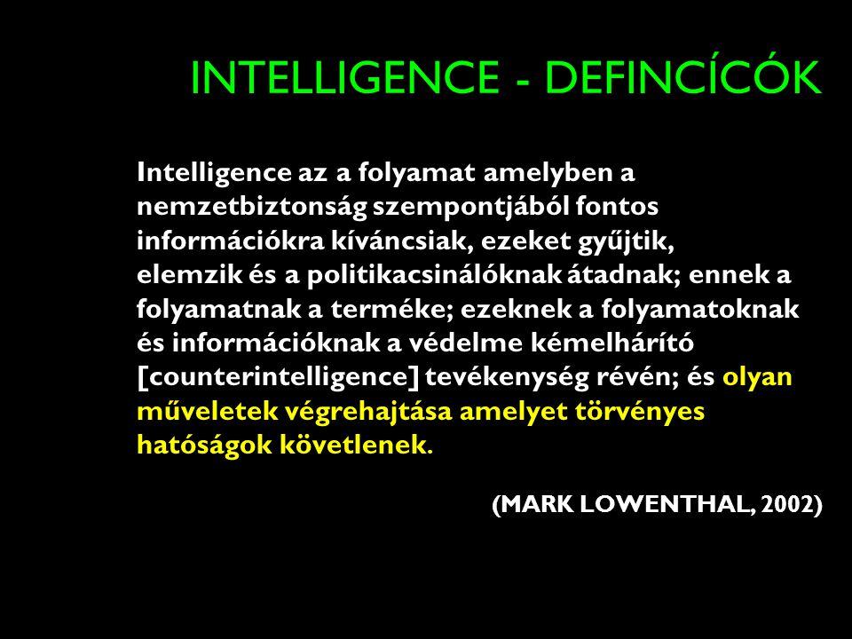 INTELLIGENCE - DEFINCÍCÓK Intelligence az a folyamat amelyben a nemzetbiztonság szempontjából fontos információkra kíváncsiak, ezeket gyűjtik, elemzik