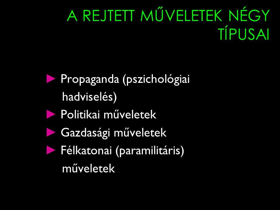 A REJTETT MŰVELETEK NÉGY TÍPUSAI ► Propaganda (pszichológiai hadviselés) ► Politikai műveletek ► Gazdasági műveletek ► Félkatonai (paramilitáris) műve