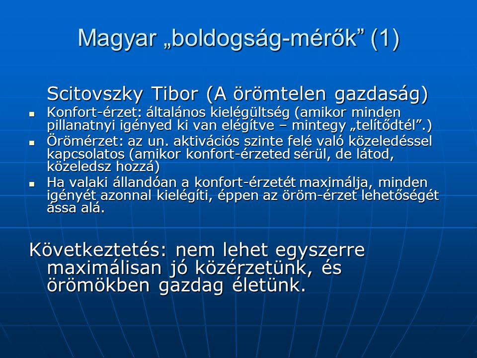 """Magyar """"boldogság-mérők (1) Scitovszky Tibor (A örömtelen gazdaság) Konfort-érzet: általános kielégültség (amikor minden pillanatnyi igényed ki van elégítve – mintegy """"telítődtél .) Konfort-érzet: általános kielégültség (amikor minden pillanatnyi igényed ki van elégítve – mintegy """"telítődtél .) Örömérzet: az un."""