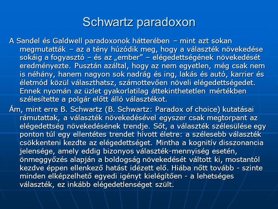 """Schwartz paradoxon A Sandel és Galdwell paradoxonok hátterében – mint azt sokan megmutatták – az a tény húzódik meg, hogy a választék növekedése sokáig a fogyasztó – és az """"ember – elégedettségének növekedését eredményezte."""