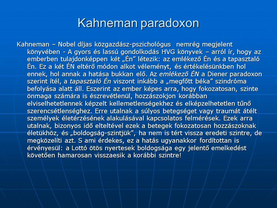 """Kahneman paradoxon Kahneman – Nobel díjas közgazdász-pszichológus nemrég megjelent könyvében - A gyors és lassú gondolkodás HVG könyvek – arról ír, hogy az emberben tulajdonképpen két """"Én létezik: az emlékező Én és a tapasztaló Én."""