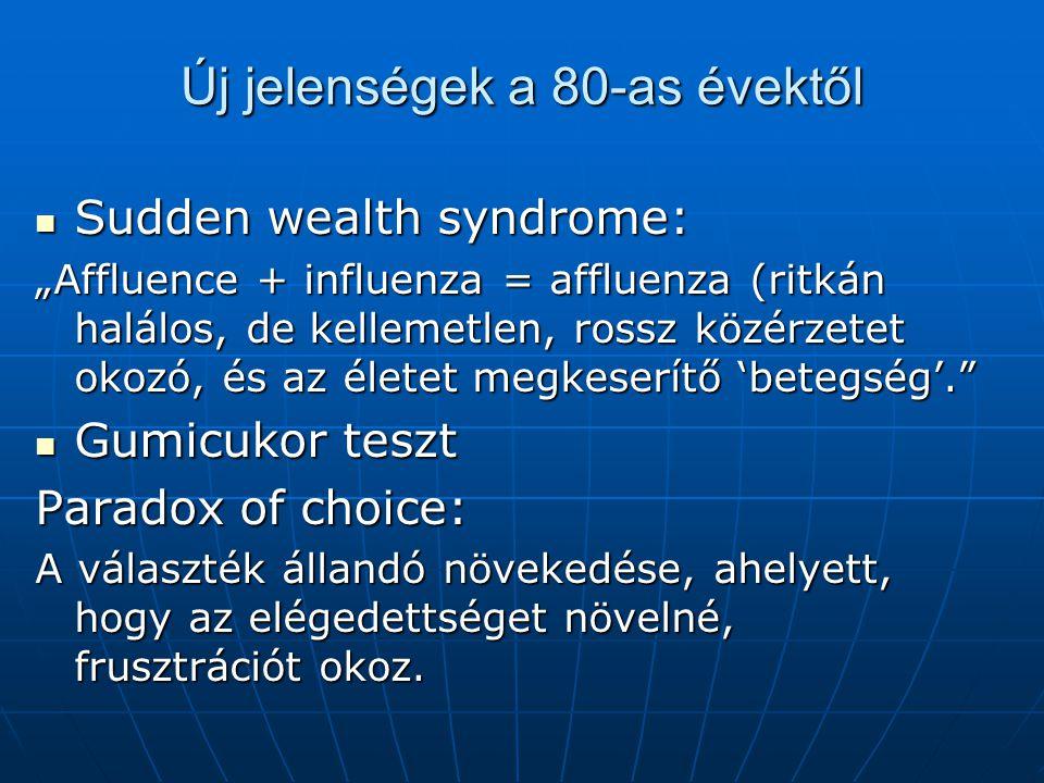 """Új jelenségek a 80-as évektől Sudden wealth syndrome: Sudden wealth syndrome: """"Affluence + influenza = affluenza (ritkán halálos, de kellemetlen, rossz közérzetet okozó, és az életet megkeserítő 'betegség'. Gumicukor teszt Gumicukor teszt Paradox of choice: A választék állandó növekedése, ahelyett, hogy az elégedettséget növelné, frusztrációt okoz."""