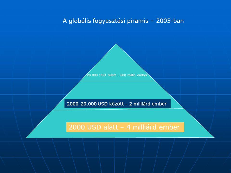 2000 USD alatt – 4 milliárd ember 2000-20.000 USD között – 2 milliárd ember 20.000 USD felett – 600 millió ember A globális fogyasztási piramis – 2005-ban
