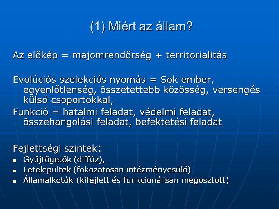 Mi az állam? Egy közösség sajátnak tekintett térsége (territorium), ahol szuverén (saját belátása szerint szabályoz, büntet, és amelyet sajátjaként sz