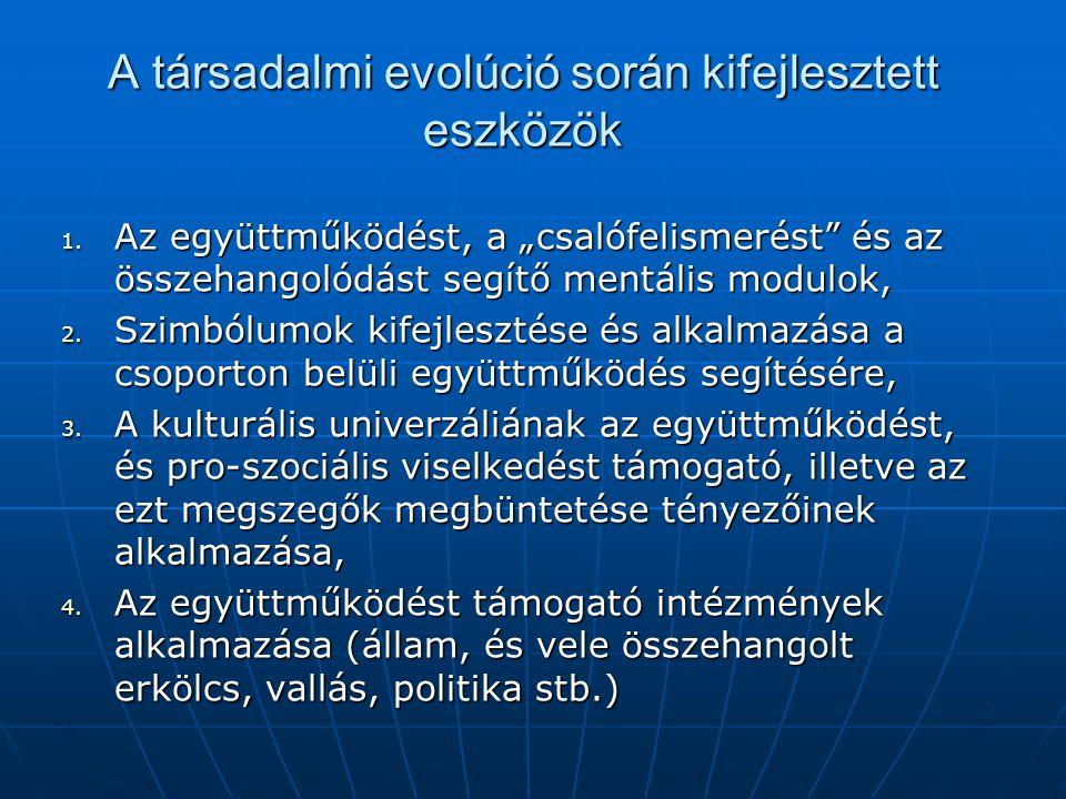 A természetben alkalmazott módszerek 1. Genetikai módszer az együttműködés és a pro- szociális viselkedés beállítására (pl. hangyák – rokonsága), 2. A