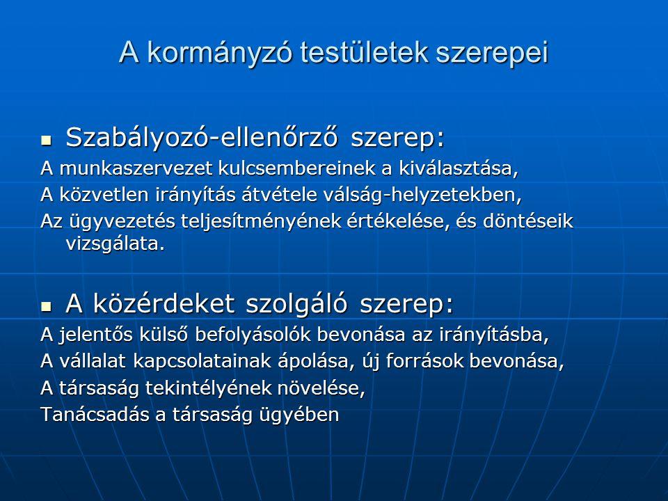 A kormányzó testületek szerepei Szabályozó-ellenőrző szerep: Szabályozó-ellenőrző szerep: A munkaszervezet kulcsembereinek a kiválasztása, A közvetlen