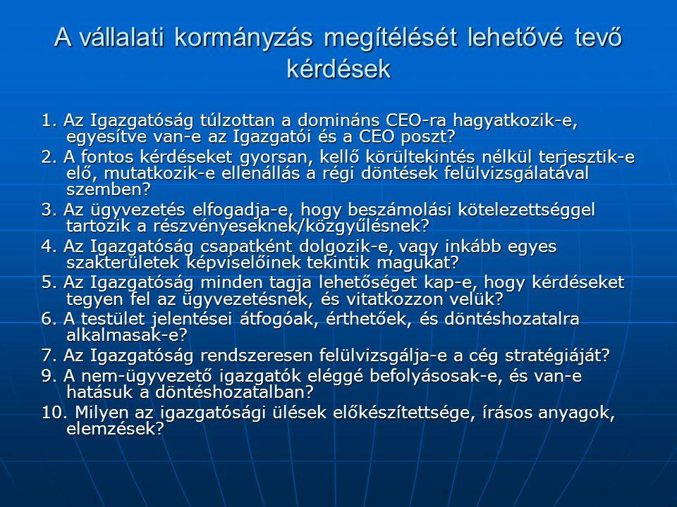 A vállalati kormányzás megítélését lehetővé tevő kérdések 1. Az Igazgatóság túlzottan a domináns CEO-ra hagyatkozik-e, egyesítve van-e az Igazgatói és